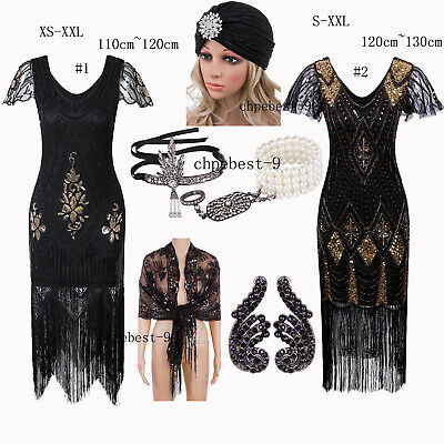 Black Style Party Dress Accessories 1920s Flapper Costumes Formal Gown Plus Size