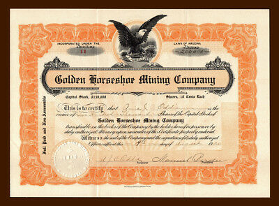 1920 Golden Horseshoe Mining Stock Certificate QUINCY CALIFORNIA Feather River