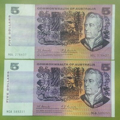 1976 Five Dollar Commonwealth of Australian notes X Two.
