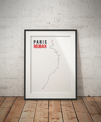 Cycling Paris Roubaix Route Digital Artwork Print