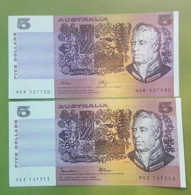1985,1990 & 1991 Five Dollar Australian notes X Three Unc.