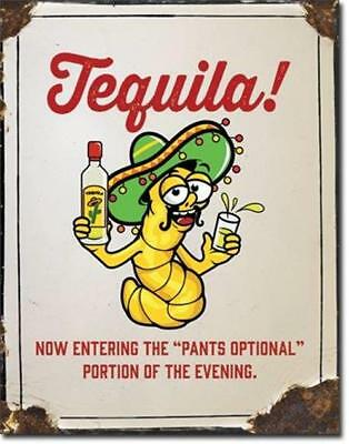 Tequila Pants Optional Weathered Metal Tin Sign