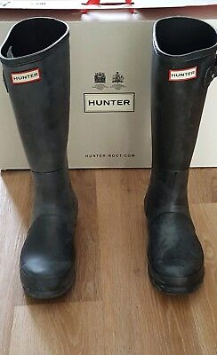 Mens Original Tall Black Hunter Welly/wellies/wellington Boots Size 8