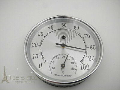 100mm  Accurate Temperature Humidity Meter Hygrometer Thermometer Silver