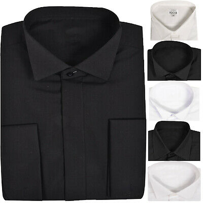 Mens Casual Formal Shirt Full Wing Collared Double Cuff Suit Dress Long sleeve