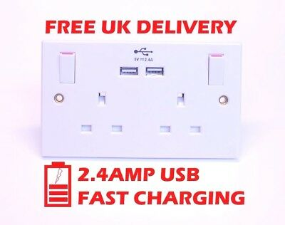 13A 13 Amp double socket with 2 x USB 2.4A Fast Charging SMJ PPSK2USB L7