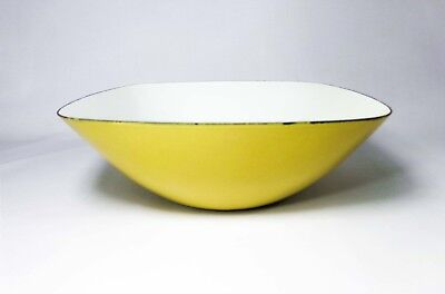 Early Cathrineholm Norway Vint Chartreuse/white Enamel Sq Rim Mixing/salad Bowl