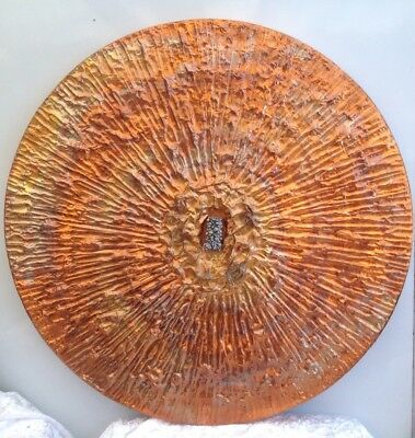 Vintage Retro Hand Crafted Beaten Circular Copper Abstract Wall Sculpture 1970s