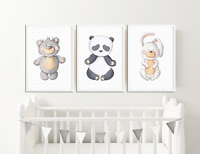Watercolour Animal Prints Pictures for Nursery / Neutral Colours Baby Bedroom