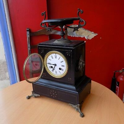 Antique French Black Slate 8 Day Mantel Clock – Japy Freres