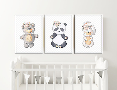 Floral Animal Prints Pictures for Nursery / Neutral Colours Baby Girls Bedroom