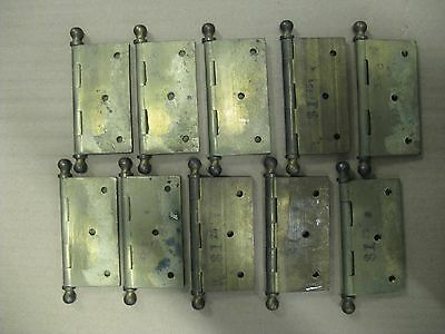 "Set Of 10 VINTAGE SOLID BRASS HINGES 3""1/2 X 3""1/2 With REMOVABLE PIN NEW"