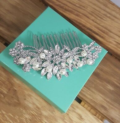 Radiant Bridal Silver Plated Austrian Crystal White Faux Pearls Hair Comb