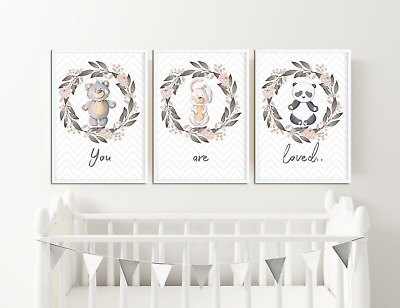 You Are Loved Floral Animal Prints Pictures for Nursery / Baby Girls Bedroom SET