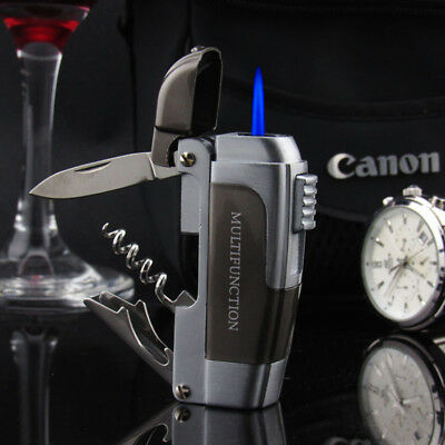 Multifunction Windproof Jet Torch Gas Refillable Lighter Knife Bottle Opener
