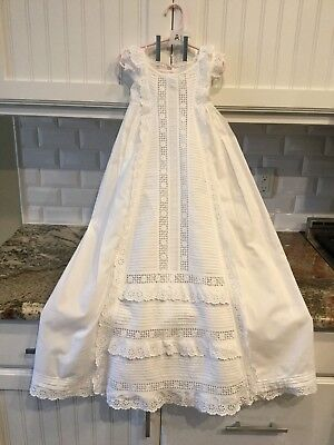 Beautiful Antique Victorian Lace Cotton Baby Christening Gown Dress