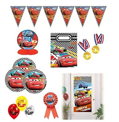 Disney Cars Checkered Birthday Party Supplies Tableware Decorations