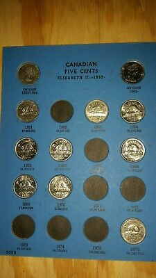 Canadian 5 cent starter set with 5 uncirculated coins,and Album