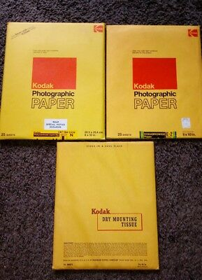 Lot of 2 Kodak 8 X 10, Photographic Paper Sheets. & 1 Dry Mounting Sheets