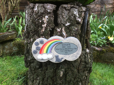 Personalised Rainbow Bridge Stone Memorial for Cat with Little Paw Prints