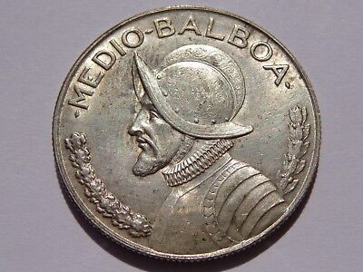 1947 Panama Silver 1/2 Balboa Xf+ No Reserve! Very Nice! Must See!!