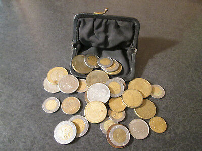 Mexican Coin Lot In Old Coin Purse