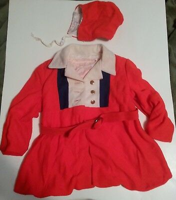 Child's Red Coat and Hat, Orlon, size 1-2 years,Vintage