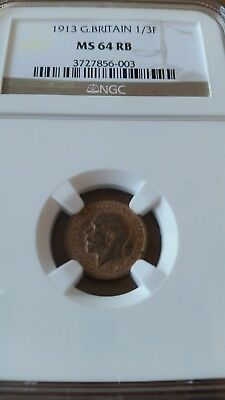 Great Britain 1913 George V  Third-Farthing  Ngc  Ms 64Rb
