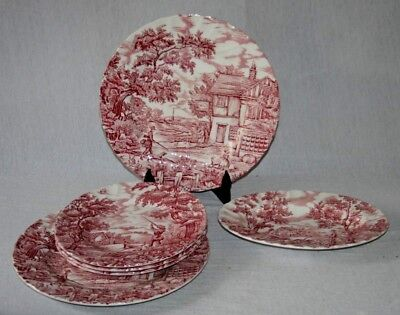 "Myott  Pink & White Transfer Ware "" The Hunter "" Pattern Tableware"
