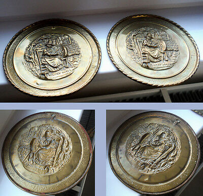PAIR BRASS JENNY JONES PLAQUES - WELSH SPINNING SCENE - EARLY 1900s    *