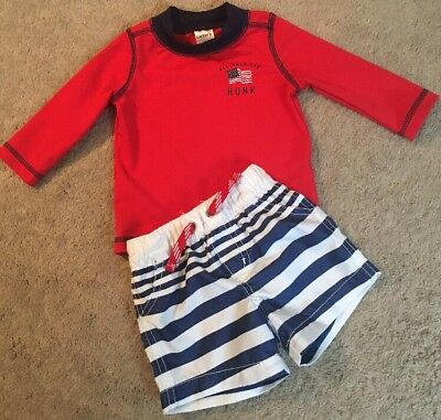 Boys Bathing Suit Size 6 Months Carter's Swim Shirt And Shorts EUC