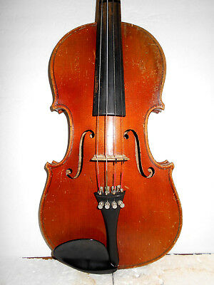 "Old Vintage Antique German ""Stradivarius"" 2 Pc Back Full Size Violin - NR"