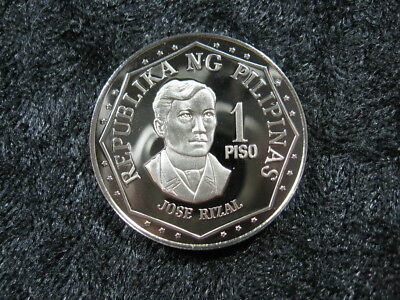 1 old world proof coin PHILIPPINES 1 piso 1977 KM209.1 Jose Rizal low mintage