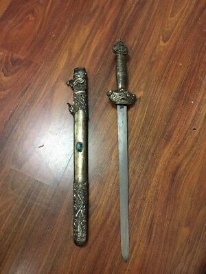 """Antique Chinese Sword with Turquoise 24"""""""