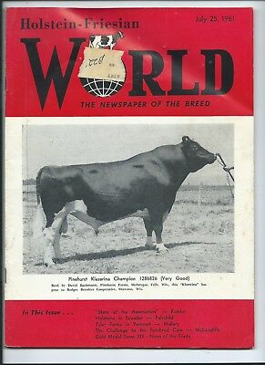 July 25,1961 vintage HOLSTEIN-FRIESIAN WORLD magazine Dairy Cattle Proven Sires