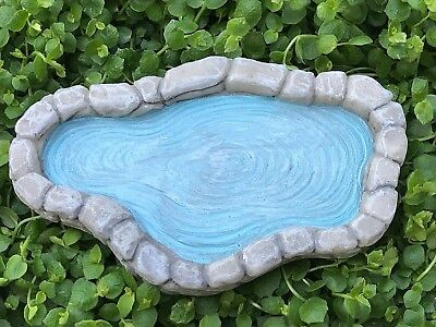 "Miniature Dollhouse FAIRY GARDEN Accessories ~Small Gray Pond with ""Water"" ~ NEW"