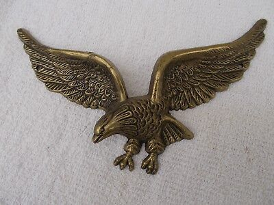 """Vintage Solid Cast Metal Brass Eagle Wall Hanging -  9"""" Wing Span"""