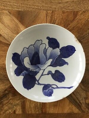 Vintage Japanese Nabeshima blue floral footed bowl Late Edo - Meiji Period