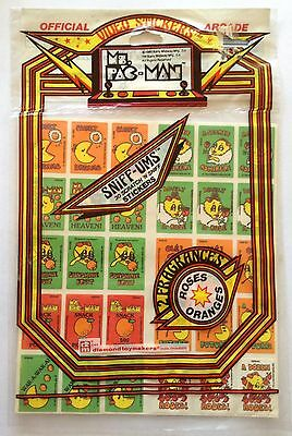 Vintage 1980 Ms. Pac-Man Roses & Oranges Scratch & Sniff Stickers Sniff-Ums