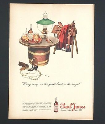 1945 Paul Jones Whiskey Advertisement Saddle Cowboy Boots Vintage Print AD