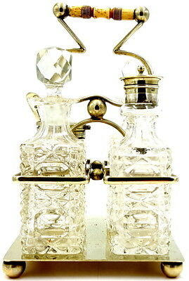 Antique Silverplate and cut glass Condiment set