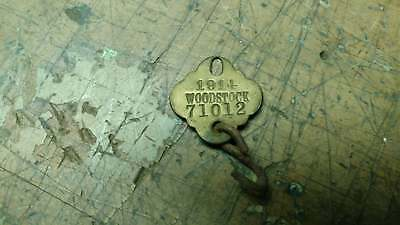 Vintage dog license tag brass Woodstock 1914 CT Connecticut