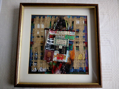 Embroidery/collage 'Shopping' picture. Elisabeth Mace. Mounted & framed. 31x30cm