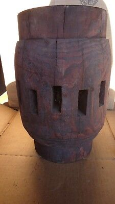 "Big Old Wooden Wagon Wheel Hub 12"" Tall, 8"" Dia. Wood Primitive Vintage Antique"