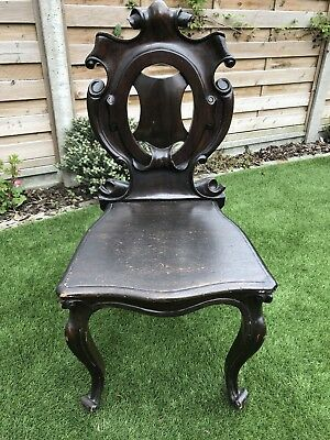 Antique Victorian Armorial? Hall Chair For Renovation