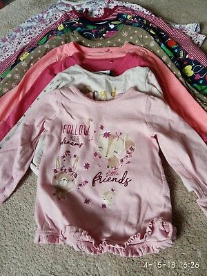 Bundle of 10 girls' long sleeve tops 12-18 months