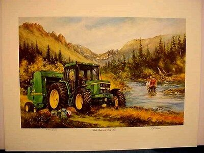 "JOHN DEERE  TRACTOR ART PRINT - ""LUNCH BREAK on the FAMILY FARM"" by CROUSE - S/N"
