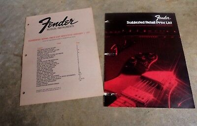 Fender 1971 & 1973 Price List Stratocaster Telecaster Jazz Bass Deluxe Twin USA