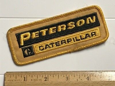 """Peterson Caterpillar CAT 4.5"""" Long Black Yellow Embroidered Patch"""