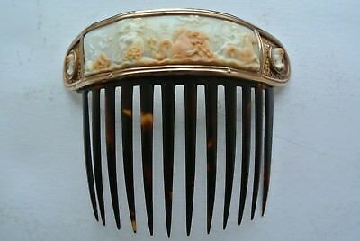 Antique c. 1850 fine Cameo , shell and gold comb, possibly Italian 13cm long, ex